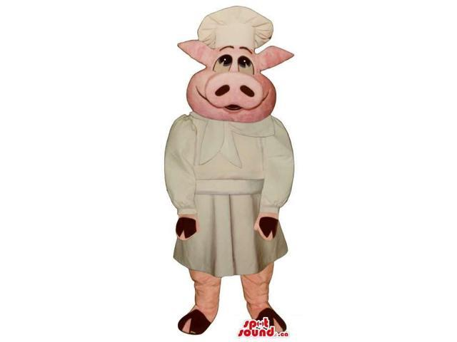 Customised Pig Plush Canadian SpotSound Mascot Dressed In Cook Or Chef Clothes