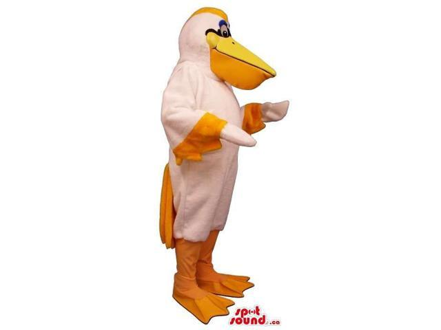 White Pelican Canadian SpotSound Mascot With And Orange Tail And Beak
