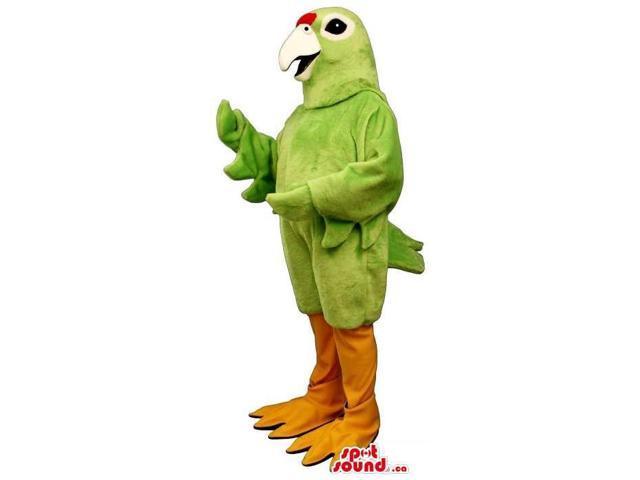 Bright Green Bird Plush Canadian SpotSound Mascot With A White Beak And Orange Legs