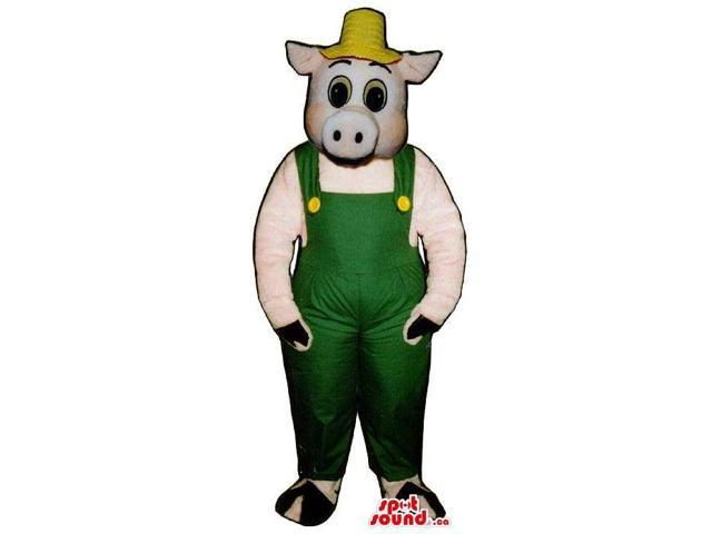 Customised Pig Plush Canadian SpotSound Mascot Dressed In Farmer Clothes