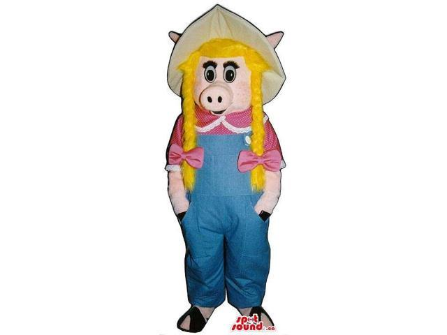 Pig Girl Plush Canadian SpotSound Mascot With Blond Braids In Farmers Clothes