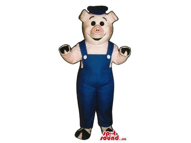 Customised Pig Plush Canadian SpotSound Mascot Dressed In Blue Overalls And A Hat