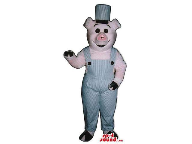 Customised Pig Plush Canadian SpotSound Mascot Dressed In Grey Overalls And A Hat
