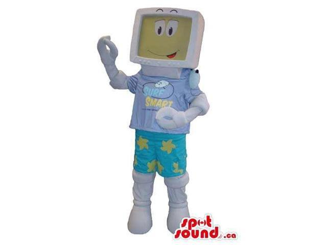 Computer Screen Canadian SpotSound Mascot In Pastel Colors With A Face