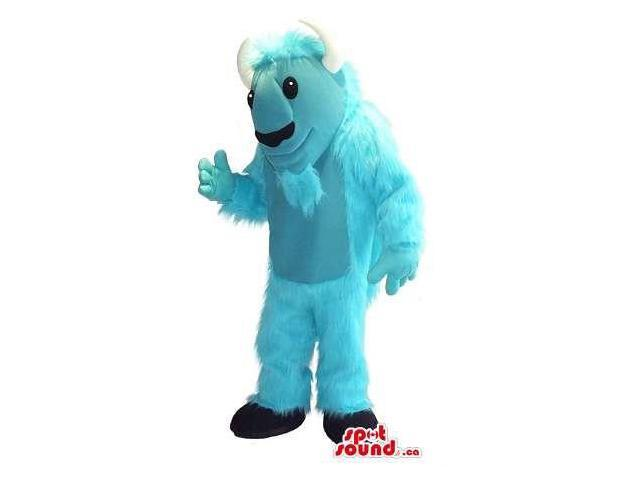 Light Blue Woolly Monster Plush Canadian SpotSound Mascot With White Horns