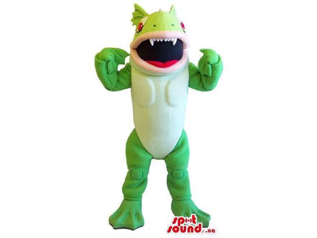 Green Flashy Creature Canadian SpotSound Mascot That Looks Like A Large Toy