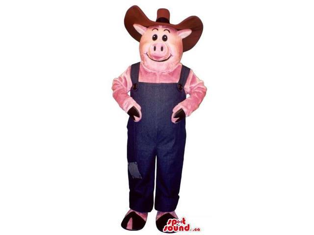 Customised Pig Plush Canadian SpotSound Mascot Dressed In Farmer Blue Overalls And Hat