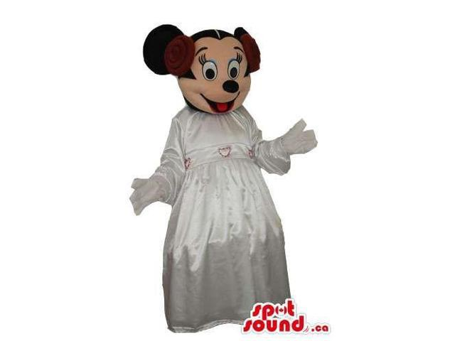 Minnie Mouse Disney Character Canadian SpotSound Mascot With A White Dress