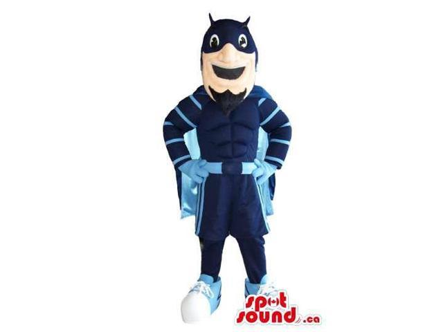 Superhero Plush Canadian SpotSound Mascot Dressed In Blue Clothes And Cape