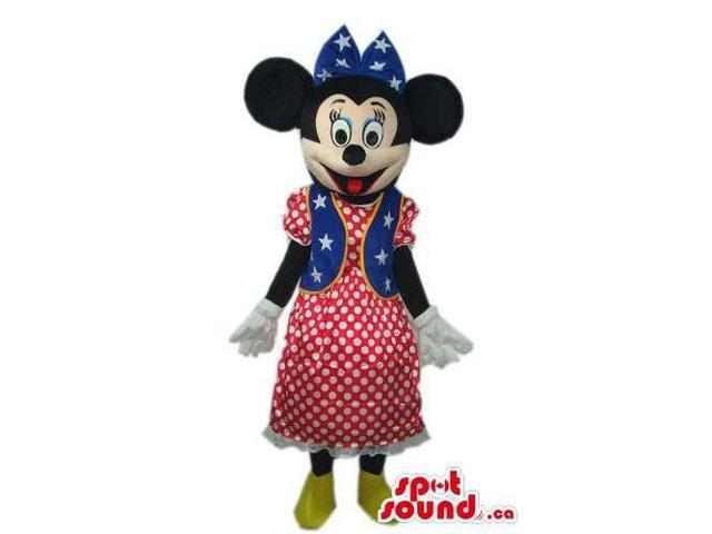 Minnie Mouse Disney Canadian SpotSound Mascot With An American Flag Dress
