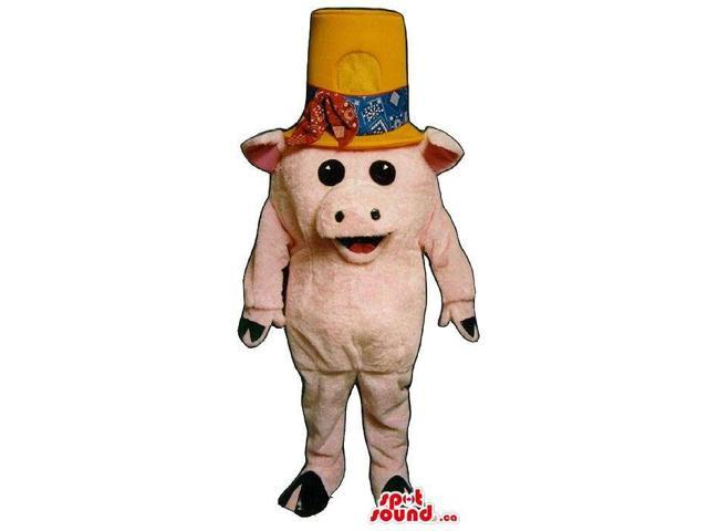 Customised Small Pig Plush Canadian SpotSound Mascot Dressed In A Large Hat