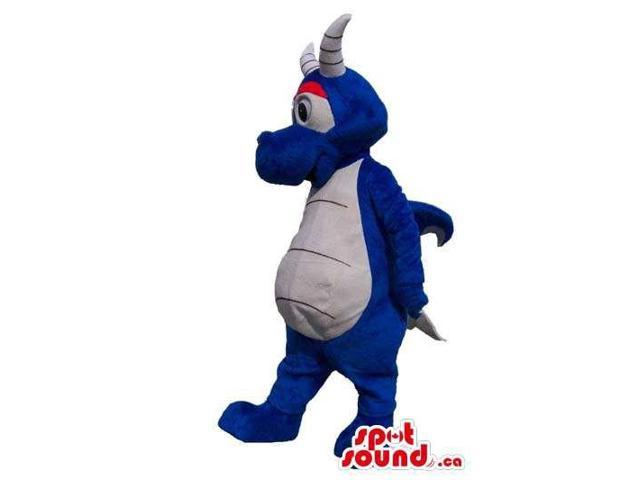 Cute Blue Dragon Plush Canadian SpotSound Mascot With A White Belly And Pink Eyelids