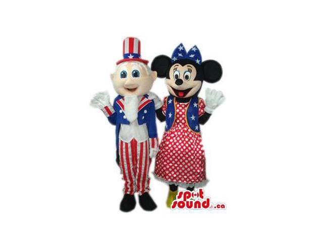 Minnie Mouse And Uncle Sam Canadian SpotSound Mascots Dressed In American Flag Clothes