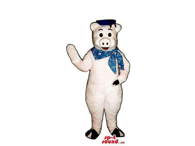 Customised Pig Plush Canadian SpotSound Mascot Dressed In A Neck Scarf And A Hat