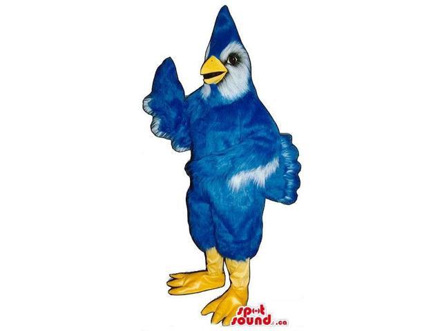 Blue Bird Plush Canadian SpotSound Mascot With A White Face And Pointy Head