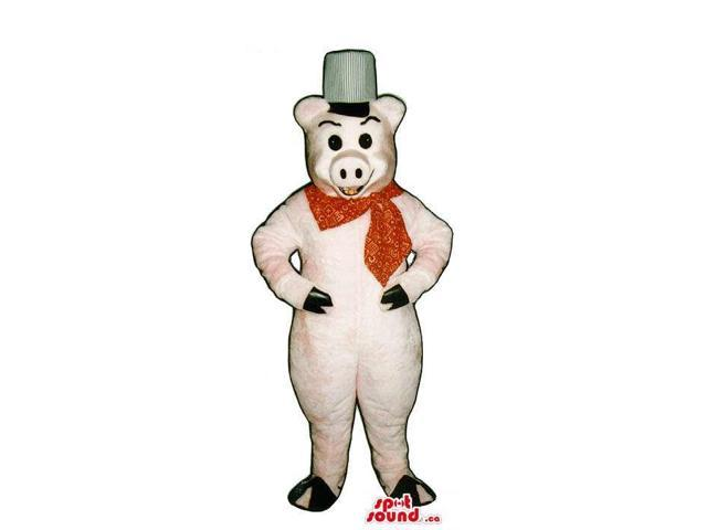 Customised Pig Plush Canadian SpotSound Mascot Dressed In A Red Neck Scarf And A Hat