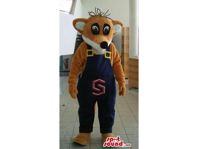 Fox Plush Canadian SpotSound Mascot With Peculiar Hairs Dressed In Overalls With A Letter