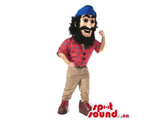 Lumberjack Character Canadian SpotSound Mascot With A Checked Shirt And A Blue Hat