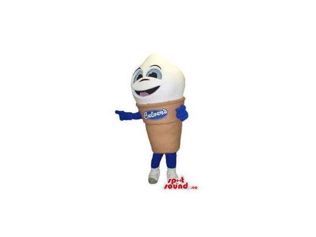 Cute Ice-Cream Cone Canadian SpotSound Mascot With A Face And Brand Name