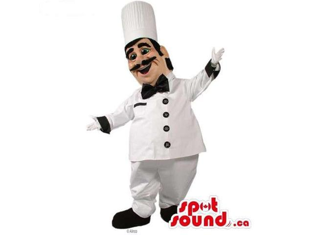 Hilarious Chef Human Canadian SpotSound Mascot With White And Black Clothes