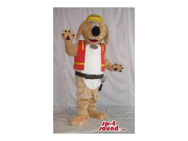 Brown Dog Plush Canadian SpotSound Mascot Dressed In A Worker Vest And Tools