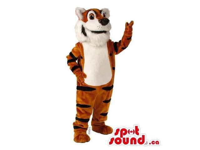 Tiger Animal Plush Canadian SpotSound Mascot With A White Belly And Large Black Nose