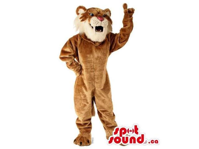 All Brown Tiger Animal Plush Canadian SpotSound Mascot Showing Its Jaws