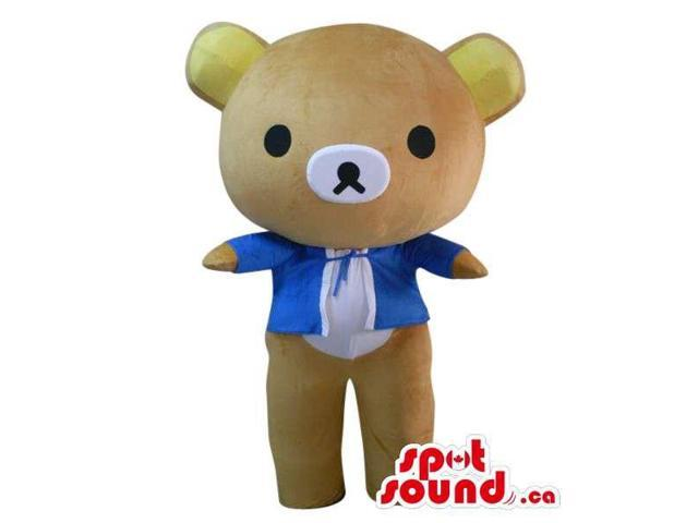 Is Cute Kawaii Teddy Bear Plush Canadian SpotSound Mascot Dressed In A Blue Jacket