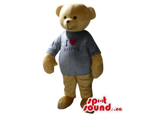 Cute Beige Teddy Bear Plush Canadian SpotSound Mascot Dressed In A T-Shirt With Text