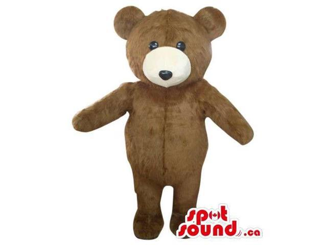 Cute Brown Teddy Bear Toy Plush Canadian SpotSound Mascot With A Beige Face