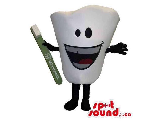 Large Peculiar White Tooth Canadian SpotSound Mascot With Toothbrush And Face