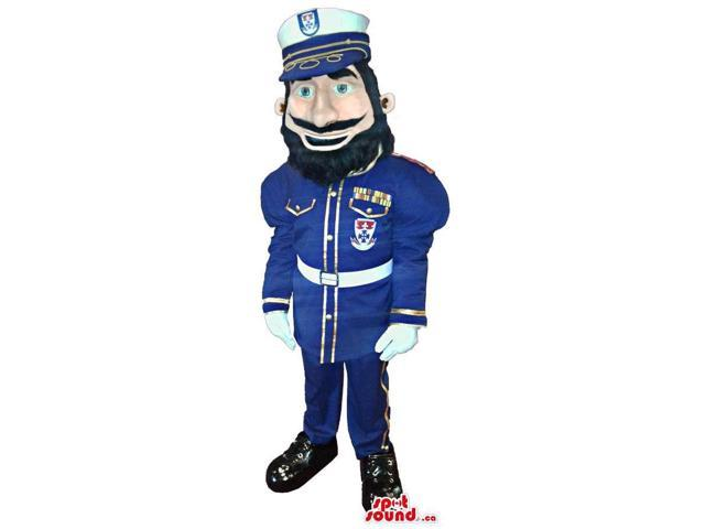 Human Character Canadian SpotSound Mascot Dressed In A Blue Guard Or Soldier Uniform