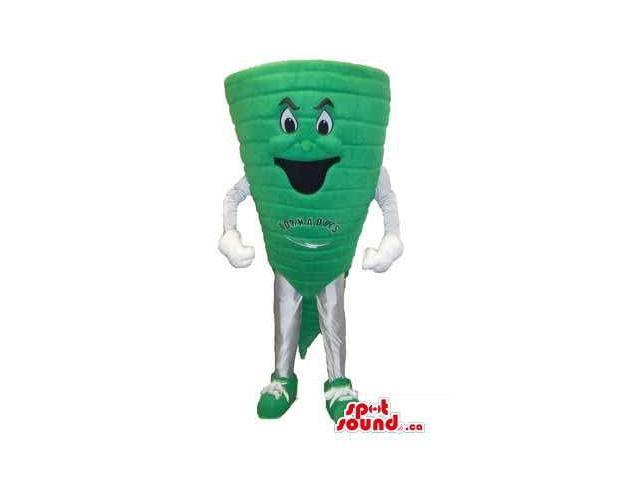 Green Tornado Canadian SpotSound Mascot With Text Message And Peculiar Face