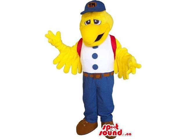 Yellow Bird Canadian SpotSound Mascot Dressed In A White Shirt And A Blue Cap