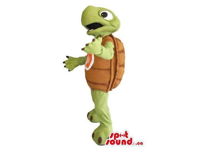 Turtle Animal Canadian SpotSound Mascot With A Logo On Its Front Shell