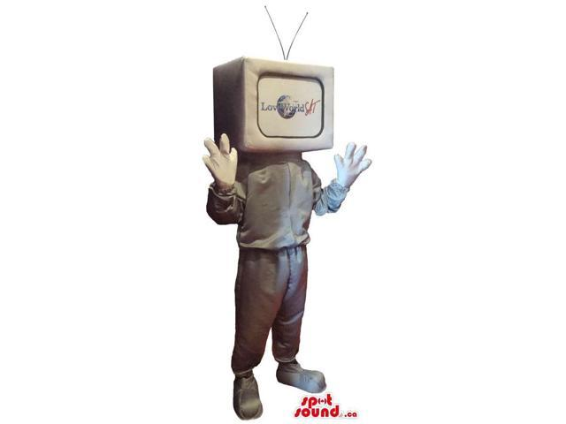 Silver Tv Canadian SpotSound Mascot With A Body And Without A Face And A Logo