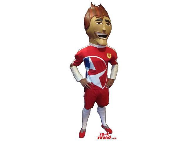 Human Character Canadian SpotSound Mascot Dressed In Football Player Gear