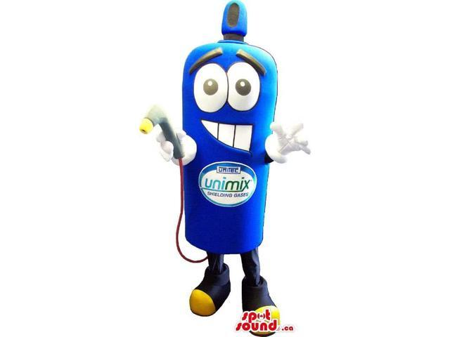 Blue Gas Bottle Object Character Canadian SpotSound Mascot With Space For Logo