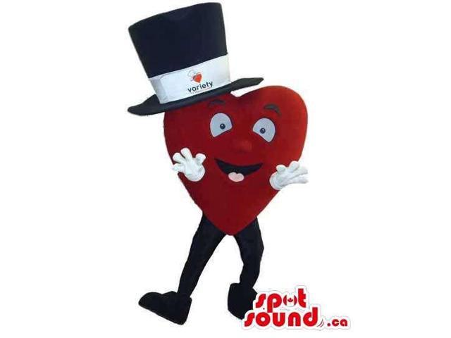 Red Large Heart Canadian SpotSound Mascot Dressed In A Large Top Hat With A Logo