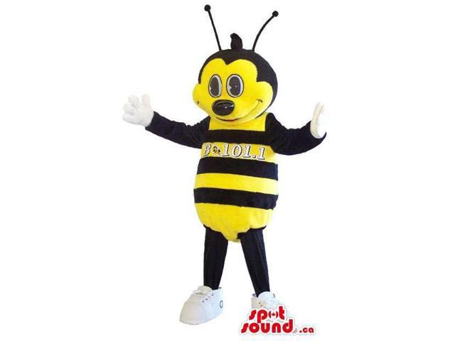 Yellow And Black Bee Insect Canadian SpotSound Mascot With A Large Head And Eyes