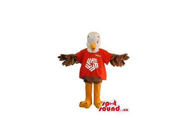 White And Brown Eagle Canadian SpotSound Mascot Dressed In A Red T-Shirt With A Logo
