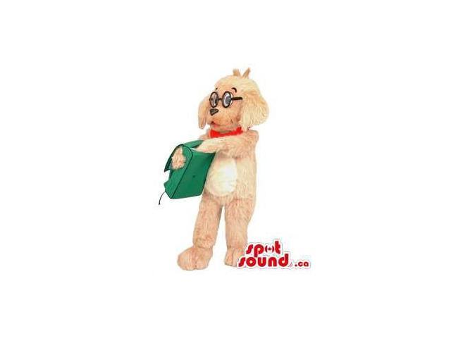 Brown Dog Animal Canadian SpotSound Mascot Dressed In Glasses And School Bag