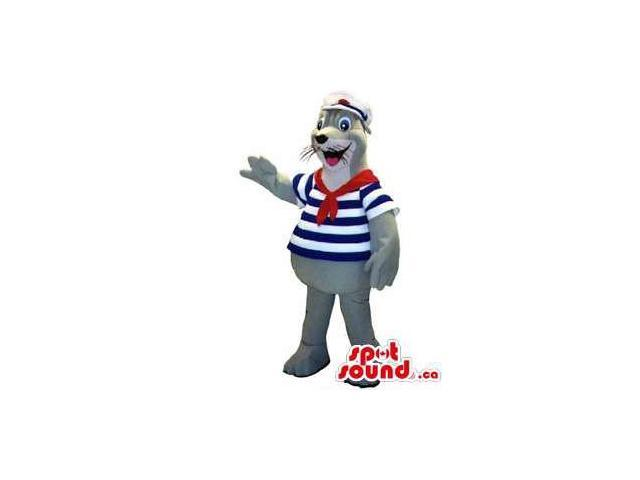 Grey Seal Water Animal Canadian SpotSound Mascot Dressed In Sailor Gear