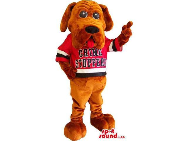 Brown Dog Animal Canadian SpotSound Mascot Dressed In A Red T-Shirt With Text