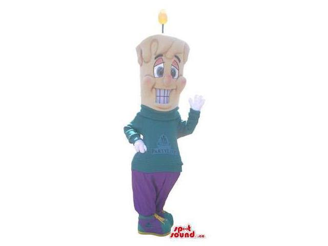 Large Candle Canadian SpotSound Mascot Dressed In A Customised Top And Purple Pants