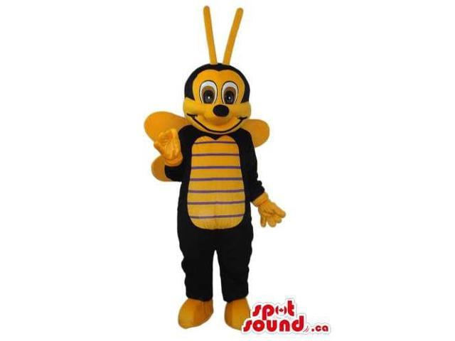 Bee Plush Canadian SpotSound Mascot With Brown Eyes And Thin Stripes