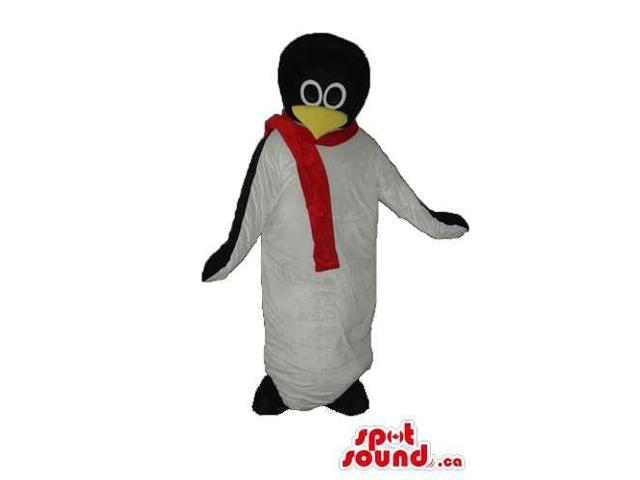 Penguin Animal Plush Canadian SpotSound Mascot With A Red Scarf And Round Head