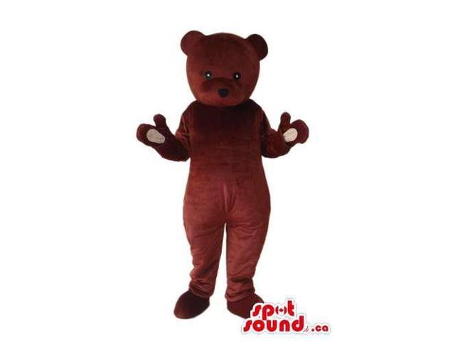 Cute All Brown Teddy Bear Plush Canadian SpotSound Mascot With Tiny Eyes
