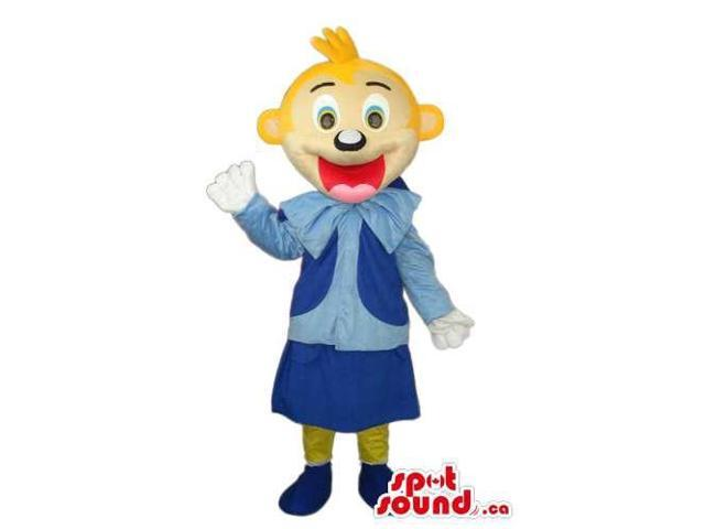 Happy Blond Girl Character Canadian SpotSound Mascot Dressed In Blue Clothes