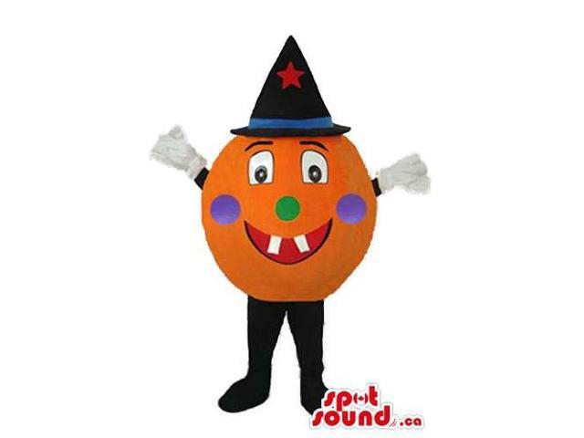 Round Pumpkin Canadian SpotSound Mascot With A Happy Face Dressed In A Magician Hat